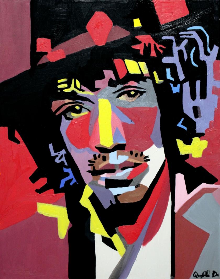"""Jimi Hendrix,"" Quyn Do, Oil on Canvas, 22x28."