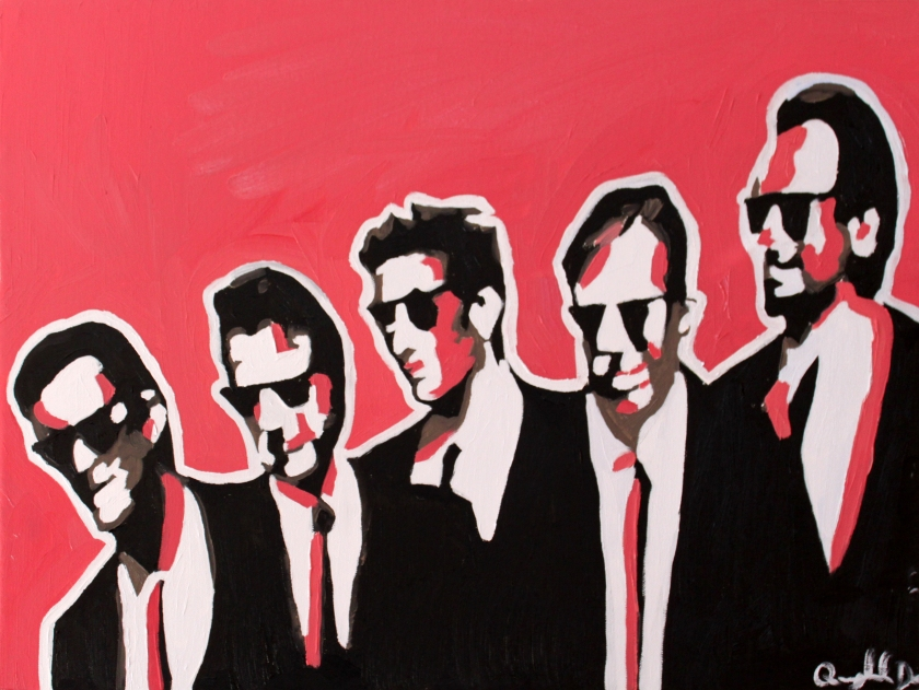 """""""Pink Reservoir Dogs,"""" Quyn Do, Oil on Canvas, 18x24."""